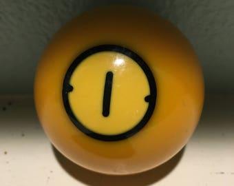 Vintage Pool Ball 1  number 1 golden yellow style billiard bakelite