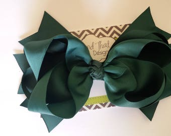 """SALE!! Jumbo Large 8"""" Forest Green Boutique Hair Bow"""