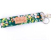 Emerald Green Key Lanyard with Be Kind | Green Wristlet Key Chain | Be Kind Key Fob