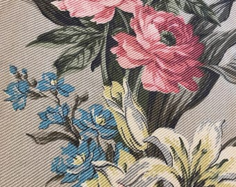 AMAZING HUGE pair of vintage drapes! Lined,floral, barkcloth, 1930's, roses, curtains