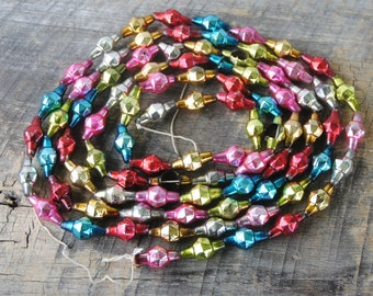 Vintage Mercury Glass Garland Multi Color Faceted Beads