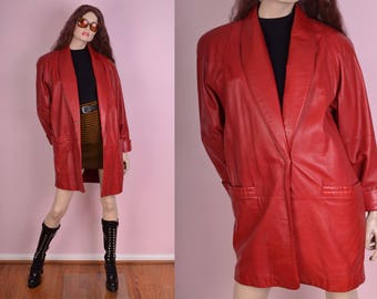 80s Red Leather Coat/ Small/ 1980s/ Jacket