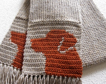 Fox Red Labrador Retriever Scarf. Neutral color, knit scarf with Labrador dogs. Scarves with dogs. Labrador gift