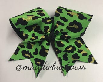 Green Cheetah Cheer Bow