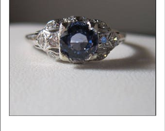 Antique Art Deco Platinum 1.3 Carat CeylonBlue Sapphire Diamond Engagement Ring