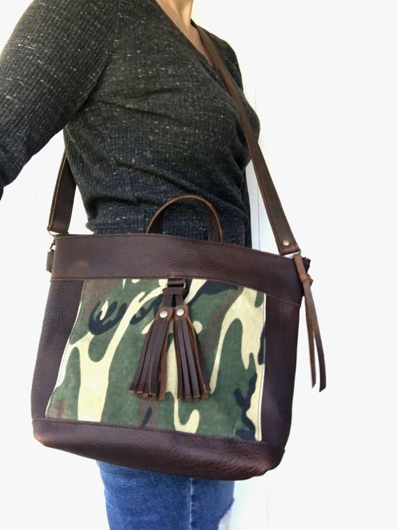 Brown leather crossbody bag, brown leather purse, crossbody purse, leather shoulder bag, everyday bag, leather bag, camouflage