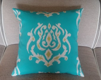 Two 20 x 20 Custom  Pillow Covers - Indoor/Outdoor - Large Ikat - Blue Turquoise/ Citrine  Yellow