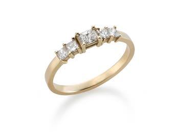 14k Gold Five White Diamonds Ring - Engagement Gold Ring - Radiant Cut Diamond & Four Princess Cut Diamonds  - Unique Wedding Ring For Women