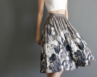 Floral chiffon midi skirt