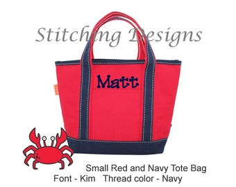 Personalized Small Tote, Flower girl Tote, Tote Bag, Monogrammed tote - SMALL - Red with Navy