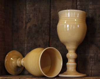 Sunny Yellow Wine Goblet tumblers cups by village pottery pei