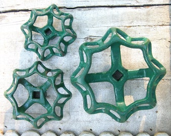 3 Ornate Valve Handles, Steel, Cast Iron, Steampunk, Industrial, Assemblage, Garden Decor, Heavy Duty, Green