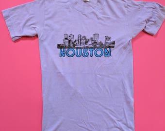 1970s Houston, Texas T-shirt Lavender Purple Small