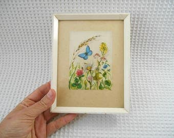 Floral Butterflies Picture Framed Vintage Mini
