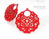 Dyeing Series - 6 PCS 52x 54mm Variety of Colors Filigree Round Lace Wood Dangle/ Wooden Charm/Pendant / Wood Earring NM236