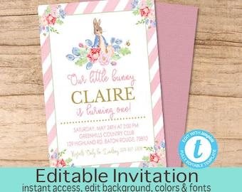 Pink Bunny First Birthday Invitation / Peter Rabbit Floral Watercolor invitation /Pink Bunny Invitation/ Vintage First Birthday Invitation