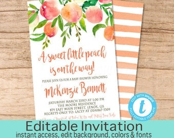 Baby Shower Invitation, Peach Floral Baby Shower invitation, Georgia Peach Watercolor Floral Invitation. Instant Download
