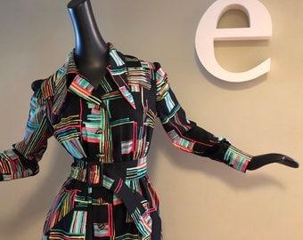 Vintage 60s 70s MOD Coat Dress Twiggy Carnaby Street Style Black w Neon Multi Geometric Print Long Pointy Collar Belted Very Lightweight SM