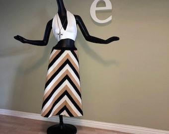 Vintage 70s Chevron Stripe Skirt & Halter Top Outfit MOD 2 pieces 1970s Disco Hippie Festival Boho Sophisticated Black White Beige sz Medium