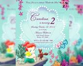Disney Baby Princess Ariel - The Little Mermaid - Princess Ariel - Disney Princess Personalized Digital Invitation