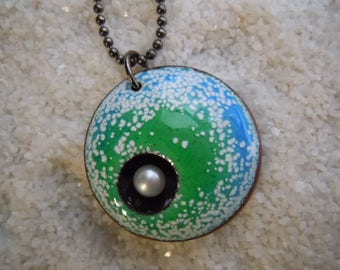 Green Blue White Speckled Necklace  Artisan Jewelry Pearl Jewelry