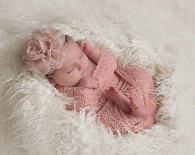Featured listing image: Blush Knit Wrap AND/OR Matching Blush Chiffon and Lace Flower Headband, photo shoots, newborn swaddle wrap, bebe foto, Lil Miss Sweet Pea