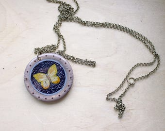 Yellow Butterfly Medallion Necklace - yellow butterfly pendant