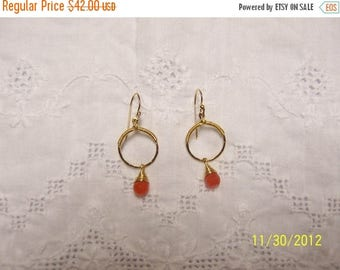TWICE A YEAR, 25% Off Vintage Circle and Carnelian Dangle Earrings. Sterling Silver.