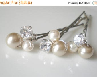 ON SALE Bridal Pearl Hair Jewelry. Rhinestone Pearl Hair Pins. Prom. Bridal Shower GIFT. Mother of the Bride. Flower Girl hair pins. Taupe P