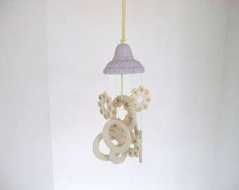 Wind chime, dome wind chime, ceramic wind chime, purple and yellow