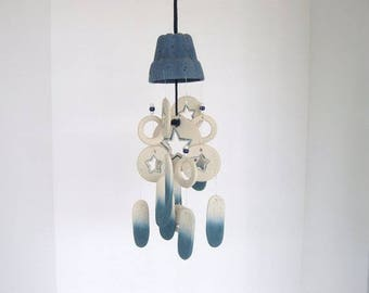 Wind chime, dome wind chime, ceramic wind chime, blue stars and beads