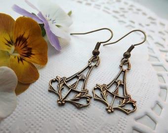Art Nouveau Brass Ornate Drop Earrings