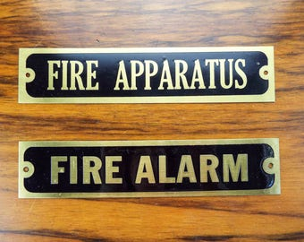 2 Vintage Brass Black Small Signs Metal Wall Plaques Fire Alarm Apparatus
