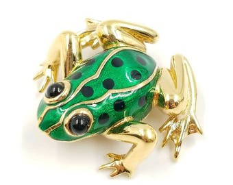 Vintage Signed Carolee Frog Brooch, Green Enamel Frog Pin with Black Enamel Spots Gold Tone Setting, Poison Tree Frog Pin, Rain Forest
