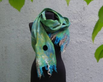 "SALE! Blue hills"", extra thin soft and fine wet felted woolen scarf, one-of-a-kind unique hand felted item, art-to-wear welted wool garment"