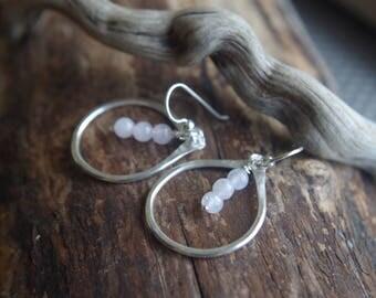 Fine Silver teardrop earrings - Pale rose quartz earrings - Hand forged Silver dangles