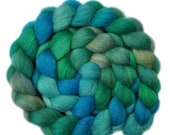 Hand dyed roving - Silk / Polwarth 40/60% wool roving - 4.3 ounces - Sky Ecstasy