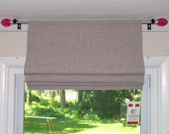 ORIGINAL Fully FUNCTIONAL Rod Pocket Roman-Shade-Custom-Made-To-Order Pick-A-Color- Cotton Canvas
