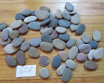 Lot of 60 Flat Oblong Beach Stones Lake Michigan Mosaic Stone Craft Supplies Jewelry Making Stones