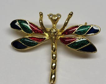 Dragonfly Pin Vintage Goldtone multi colored Brooch granny chic