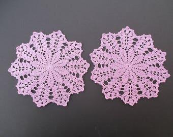 "Crochet Doilies(2)-Purple-8"" inch Diameter"