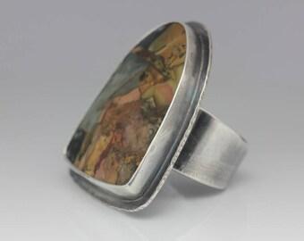 Morrisonite Jasper Ring, Morrisonite and Sterling, Boho Statement Ring, Le Chien Noir, Unisex, Adjustable