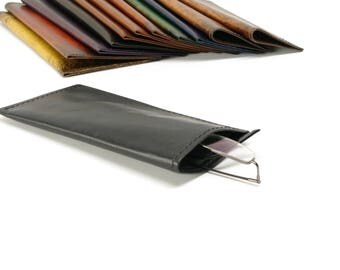Black Leather Slip-in Glasses Case (Large) - CLEARANCE -