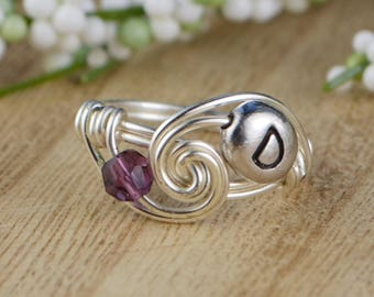 Any Birthstone and Initial Personalized Ring- Sterling Silver, Yellow or Rose Gold Filled Wire Wrapped Ring- Size 4 5 6 7 8 9 10 11 12 13 14