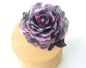 Black Lace and Pink Silk Rose Hair Flower