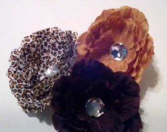 SALE--Large Gem Flower Hair Clips