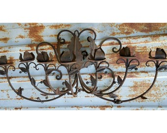 Large Wrought Iron Spanish Revival Wall Sconce 7 Arm Candelabra Light