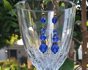 Blue glass and gold fill earrings