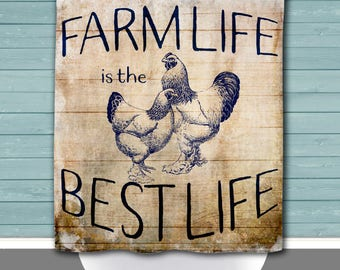 Hens Shower Curtain: Farm Life is the Best Life Country Blue Chic | 12 Eyelet/Button Hole | Size and Pricing via Dropdown