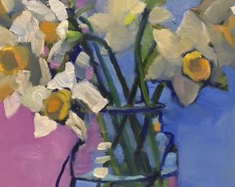 Daffodils Original Still Life Oil Painting Abstract Art
